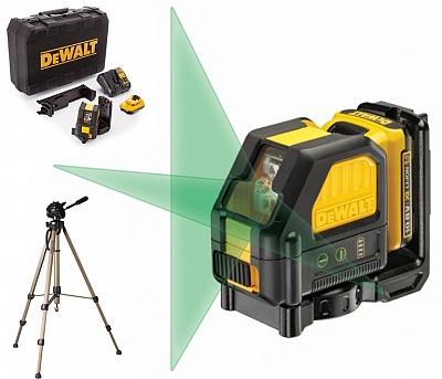 DeWALT DCE088D1G laser krzyżowy ZIELONY 15m statyw