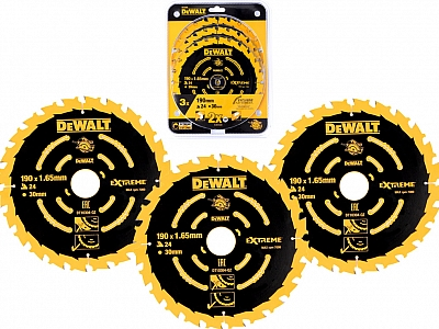 DeWALT DT10399 tarcza piła drewno 190/30mm x3szt.