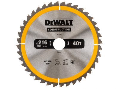 DeWALT DT1953 piła tarczowa do drewna 216mm/40z/30mm