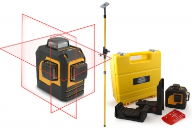 NIVEL SYSTEM CL3D laser krzyżowy CZERWONY 3x360° tyczka