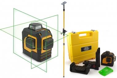 NIVEL SYSTEM CL3D-G laser krzyżowy ZIELONY 3x360° tyczka