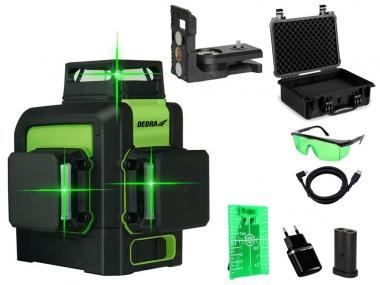 DEDRA MC0904 laser krzyżowy ZIELONY 360° walizka