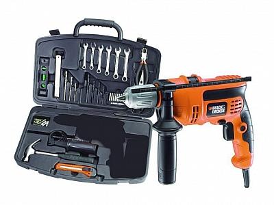 BLACK&DECKER KR554CRESKT wiertarka udarowa 550W + zestaw narzędzi ręcznych