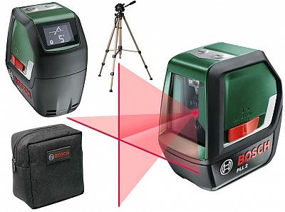 BOSCH PLL 2 laser krzyżowy 10m LCD statyw