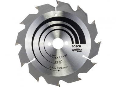BOSCH tarcza piła tarczowa drewno 160mm/12z/20mm