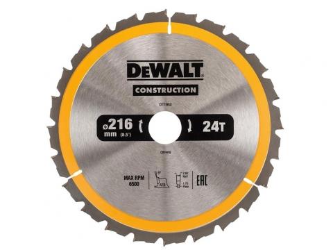 DeWALT DT1952 piła tarczowa do drewna 216mm/24z/30mm