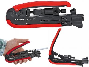 KNIPEX 974020SB szczypce praska do kabli złącza F, BNC i RCA