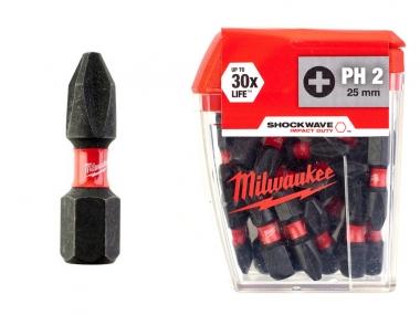 MILWAUKEE bit Ph2 końcówka udar 25mm 1/4 25szt.