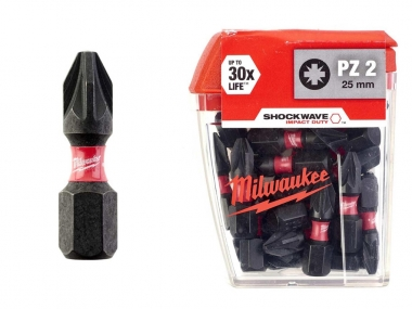 MILWAUKEE bit Pz2 końcówka udar 25mm 1/4 25szt.