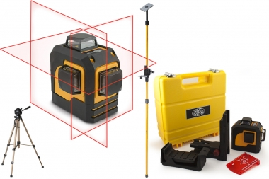 NIVEL SYSTEM CL3D laser krzyżowy CZERWONY 3x360° statyw tyczka